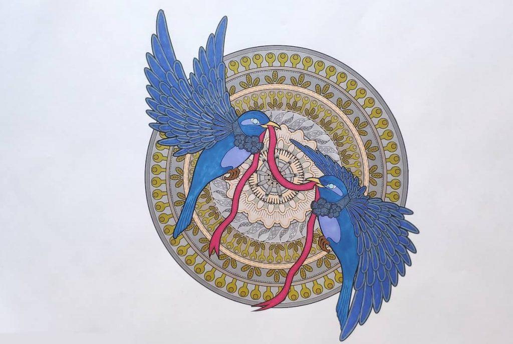 Amore è un nastro rosso - Mandala uccelli da colorare